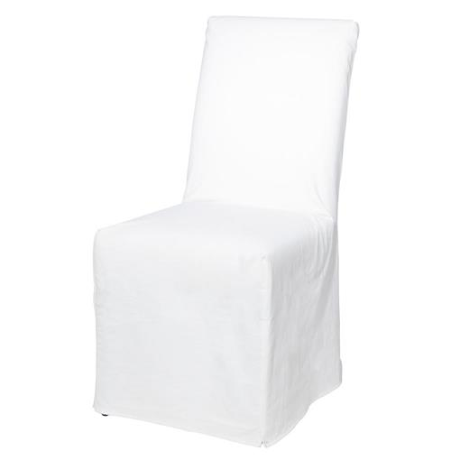 Cisco Brothers Parson Coastal Beach White Cotton Slip Cover Dining Chair | Kathy Kuo Home