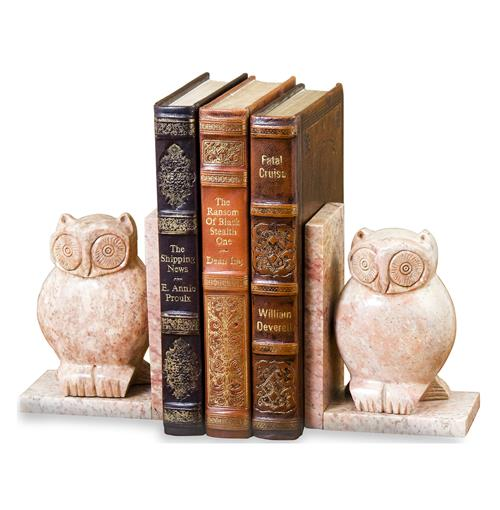 Creekside Marble Owl Bookends- Pair | Kathy Kuo Home