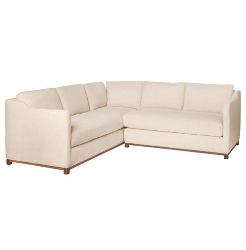 Cisco Brothers Kardell Mid Century Modern Beige Linen Sectional - Right Arm Facing - 90x91 | Kathy Kuo Home