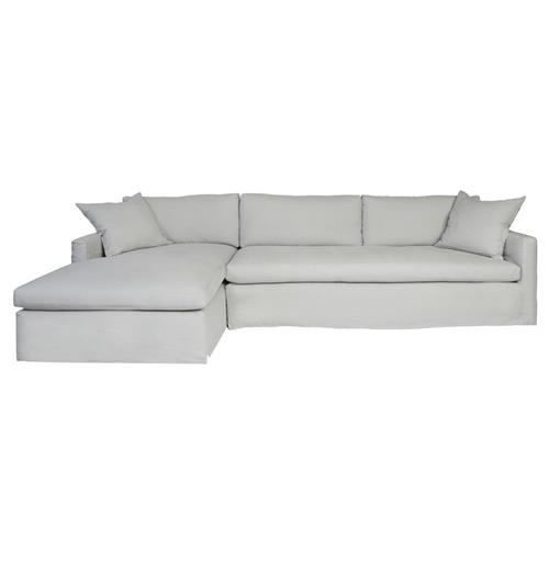 Cisco Brothers Louis Silver Grey Slipcovered Coastal Sectional - Left Arm Facing | Kathy Kuo Home