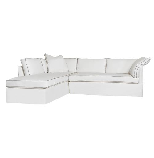 Cisco Brothers Renata Piping Modern Denim White Down Sectional - Left Arm Facing - 111x90 | Kathy Kuo Home