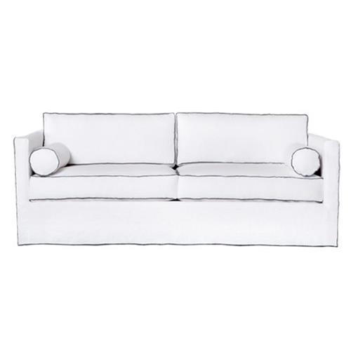 Amazing Cisco Brothers Vista Modern Classic White Grey Contrast Piping Slip Covered Sofa 84 Inch Uwap Interior Chair Design Uwaporg