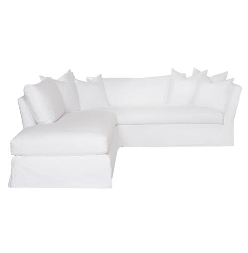 Cisco Brothers Seda Denim White Coastal Down Slipcover Left Bumper Sectional - 100x110 | Kathy Kuo Home