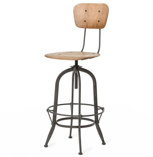 Jordan Industrial Loft Wood Iron Barstool with Back | Kathy Kuo Home