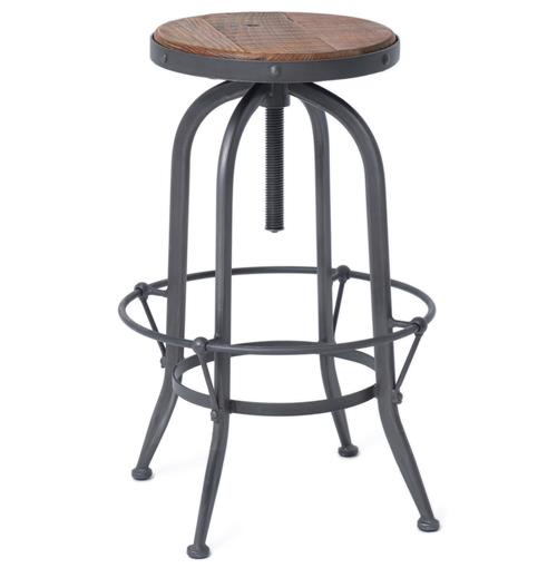 Jordan Industrial Loft Wood Iron Backless Swivel Barstool | Kathy Kuo Home