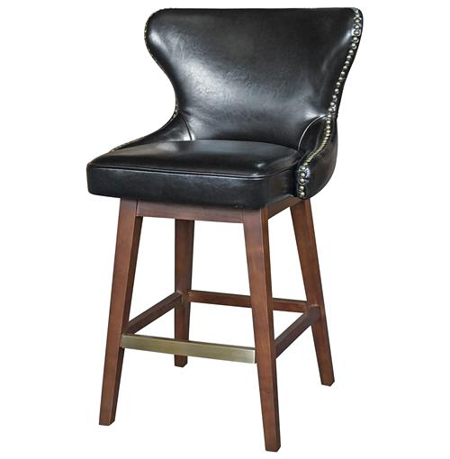 Dancy Masculine Black Leather English Tufted Swivel Counter Stool | Kathy Kuo Home