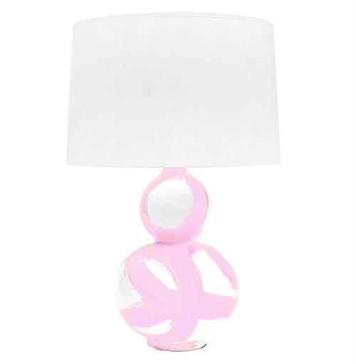 Hailey Hand Painted Gourd Shape Brushstroke Blush Pink Table Lamp | Kathy Kuo Home