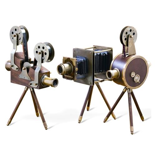 Set of 3 Watsons Wood & Brass Vintage Reproduction Film Sets | Kathy Kuo Home