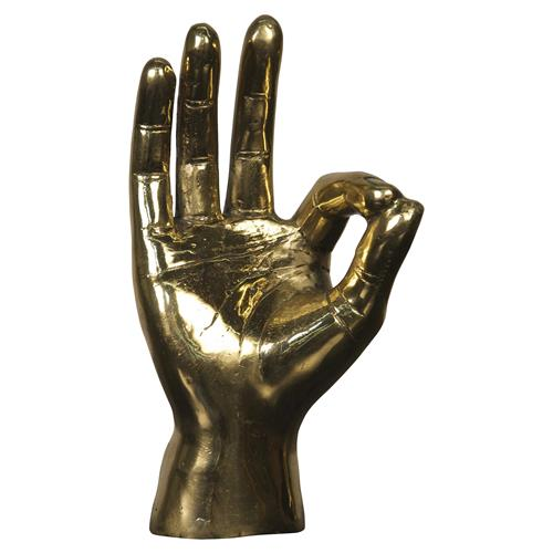 OK Sign Industrial Loft Decorative Brass Hand Sculpture | Kathy Kuo Home