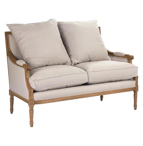 St. Germain French Country Louis XVI Natural Oak Frame Linen Settee | Kathy Kuo Home