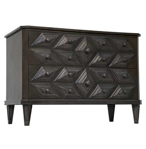 Adee Global Bazaar Diamond Carved 2 Drawer Black Dresser | Kathy Kuo Home