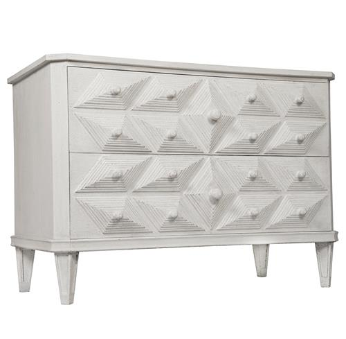 Noir Giza Global Bazaar Diamond Carved 2 Drawer White Dresser | Kathy Kuo Home