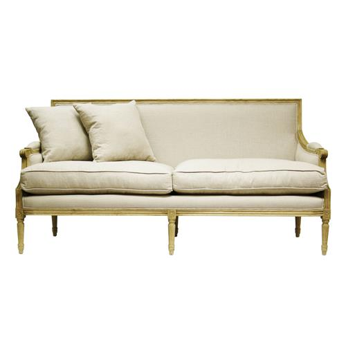 French country louis xvi natural oak frame linen sofa ebay - French country sectional sofas ...