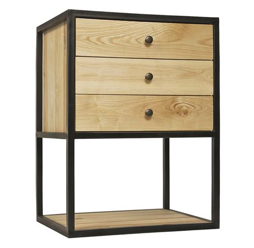 Reilly Industrial Loft 3 Drawer Elm Metal Nightstand | Kathy Kuo Home