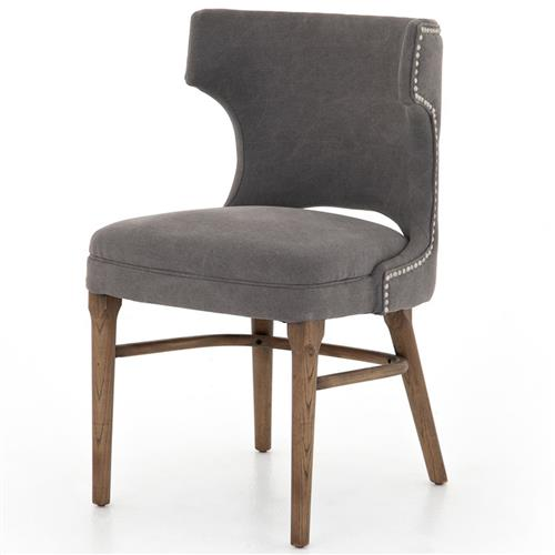 Greenwich Curved Back Charcoal Grey Canvas Dining Chair | Kathy Kuo Home