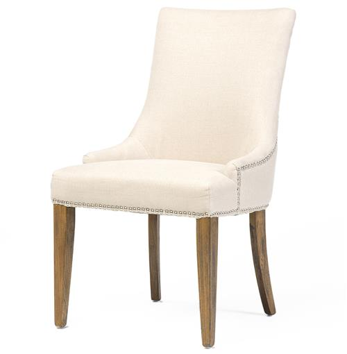 Selena Hollywood Regency Nailhead Cream Linen Dining Chair - Pair | Kathy Kuo Home