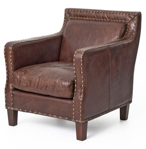 Alcott Rustic Masculine Cigar Brown Leather Accent Club Chair | Kathy Kuo Home