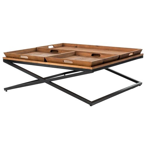 Jaxon Trio Tray Top Wood Iron Industrial Square Coffee Table | Kathy Kuo Home