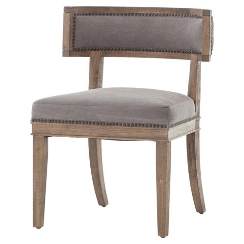 Livingston Modern Classic Curved Back Charcoal Grey Cotton Dining Chair | Kathy Kuo Home