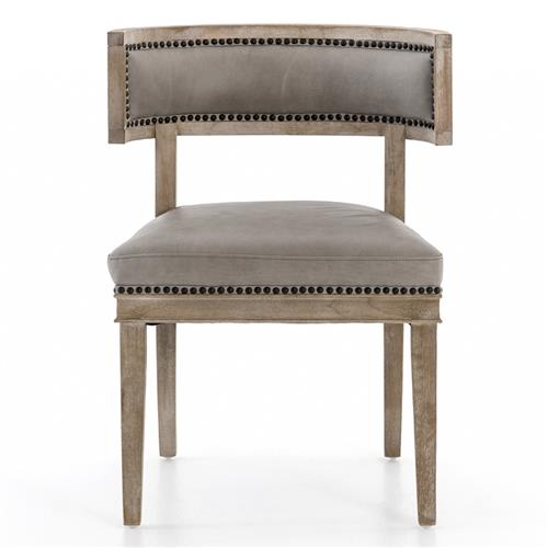 Livingston Modern Classic Curved Back Light Grey Leather Dining Chair | Kathy Kuo Home