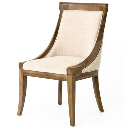 Liv Wood Natural Textured Cotton Dining Chair | Kathy Kuo Home