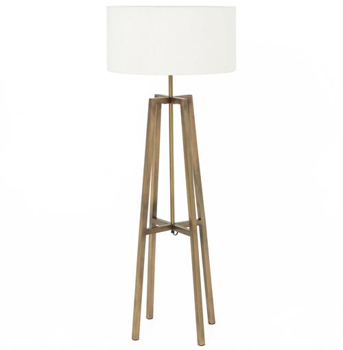 Melrose Mid Century Brass White Shade Floor Lamp | Kathy Kuo Home