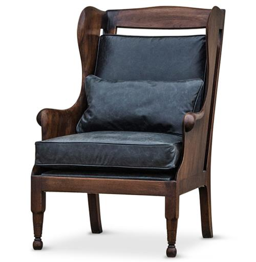 Normandy Solid Carved Walnut Wood Black Leather Wing Chair | Kathy Kuo Home
