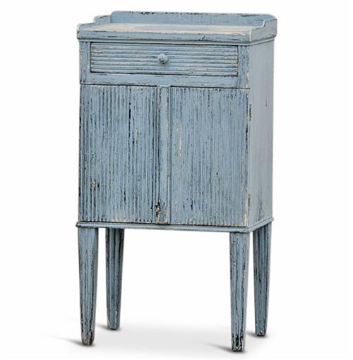 Peitro French Country Weathered Antique Blue Wood Nightstand | Kathy Kuo Home