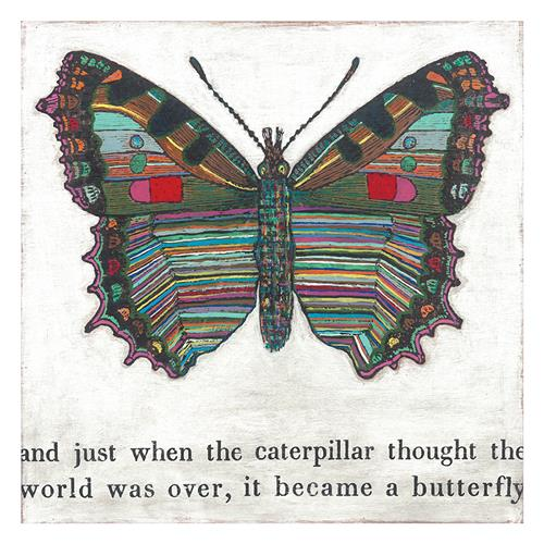 Colorful Butterfly Reclaimed Wood Art Print Wall Art - 12x12 | Kathy Kuo Home
