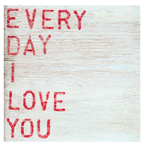 Every Day I Love You Red Block Wood Wall Art - 12x12 | Kathy Kuo Home