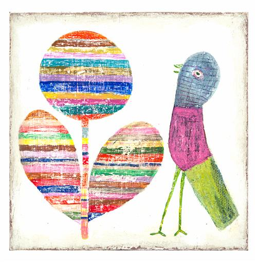 Flower and Bird Colorful Painted Wall Art Print - 12 Inch | Kathy Kuo Home