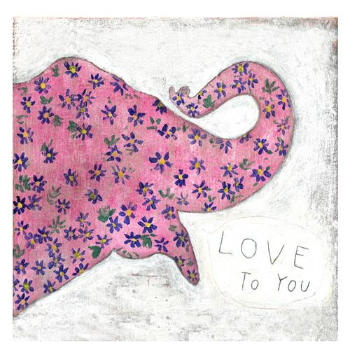 Pink Elephant Reclaimed Wood 'I Love You' Wall Art - 12 Inch | Kathy Kuo Home