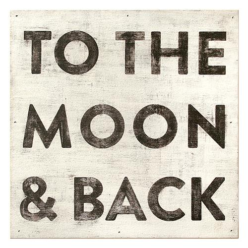 To The Moon and Back Reclaimed Wood Vintage Wall Art - 12 Inch | Kathy Kuo Home