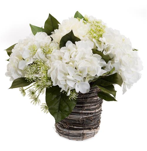 Faux White Hydrangea Flowers Queen Anne's Lace Foliage in Grey Rope Vase | Kathy Kuo Home