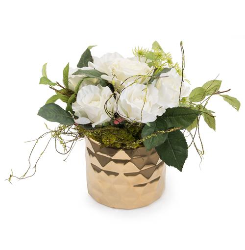 Faux White Rose Flowers Queen Anne's Lace Vine Foliage in Gold Diamond Vase | Kathy Kuo Home