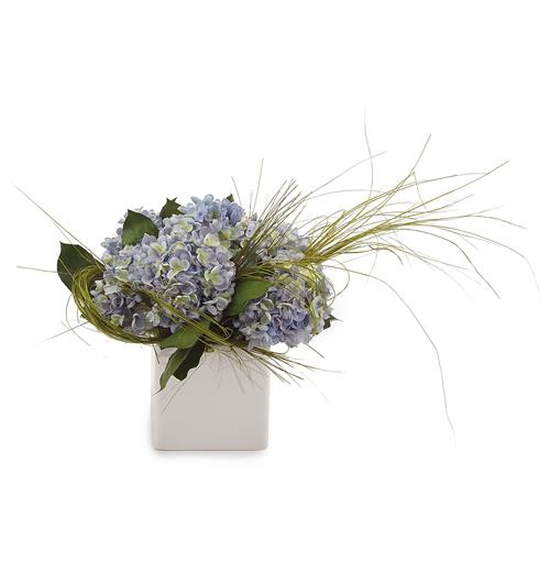Faux Blue Hydrangea Flowers Citrus Grass Leaves in White Cube Vase | Kathy Kuo Home