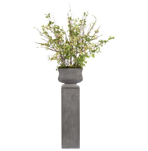 John-Richard Faux Branches Budding Cherry Blossom Flowers in Cement Pedestal Urn Pot | Kathy Kuo Home