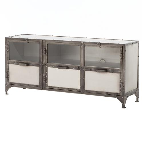 Fronzoni Industrial Loft Wide Shoe Locker Style Media Cabinet Console | Kathy Kuo Home