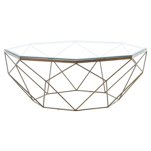 Dixon Geometric Modern Antique Brass Octagonal Round Coffee Table | Kathy Kuo Home