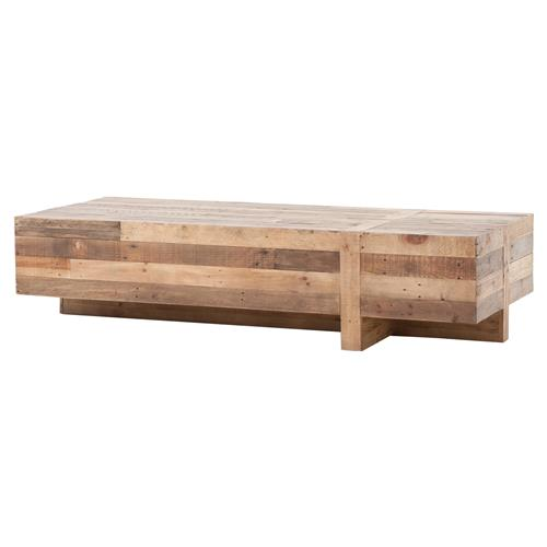 Wyatt rustic lodge chunky reclaimed wood rectangle coffee for Large chunky coffee table