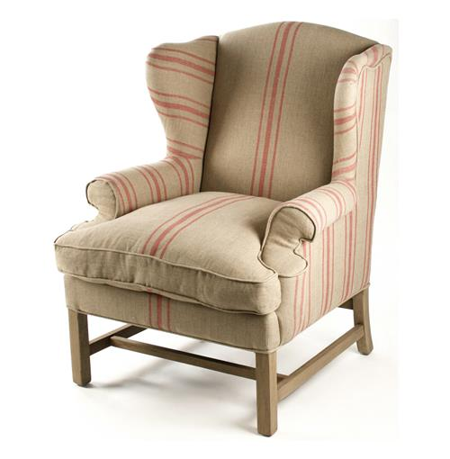 Khaki Linen English Accent Club Chair with Red Stripe | Kathy Kuo Home
