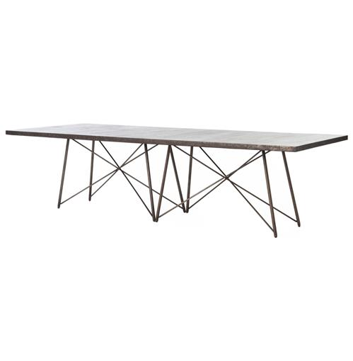 Franco Industrial Loft Geometric Large Aged Iron Dining Table | Kathy Kuo Home