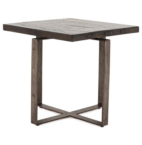 Jared Galvanized Iron Dark Grey Oak Geometric Side End Table | Kathy Kuo Home