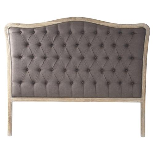 Lille Shabby Chic Grey Oak Brown Linen Tufted Headboard- Queen | Kathy Kuo Home