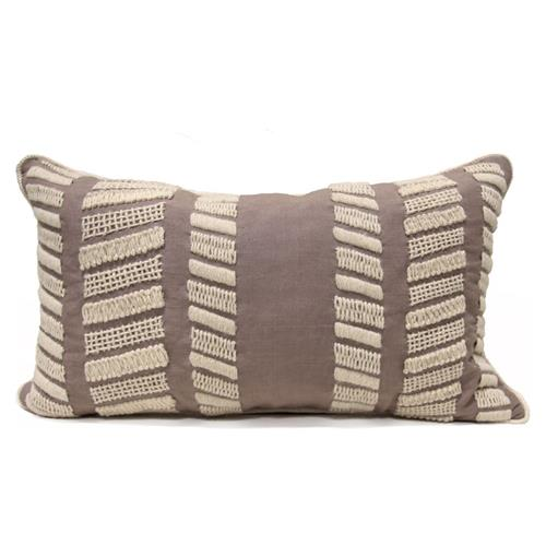 Harper Coastal Beach Style White Knit Taupe Pillow - 14x24 | Kathy Kuo Home