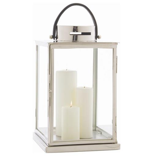 Carmel Coastal Beach Glass Nickel Candle Lantern | Kathy Kuo Home