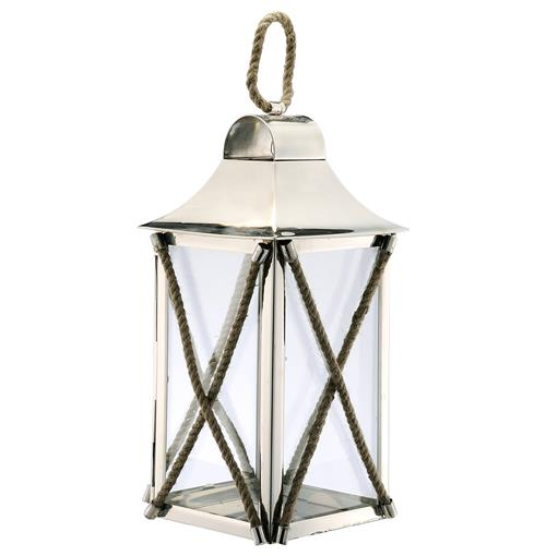 Juno Coastal Beach Criss Cross Rope Candle Lantern | Kathy Kuo Home