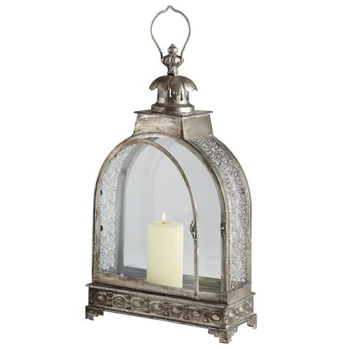 Clover Filigree Pattern Global Bazaar Steel Candle Lantern | Kathy Kuo Home