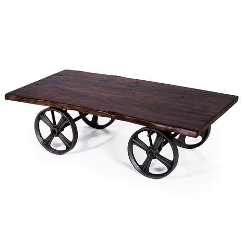 Rollins Industrial Loft Bronze Iron Coffee Table: Sullivan Industrial Loft Walnut Iron Rolling Rustic Cart