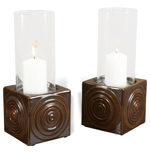 Interlude Interlude Josef Coastal Beach Brown Ceramic Hurricane Candle Holder - Set of 2 | Kathy Kuo Home